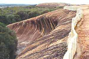 Stone wall on top of Wave Rock