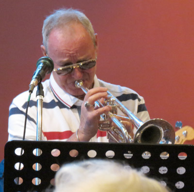 Veteran of many bands, on trumpet and flugel horn, Ken Forbes.