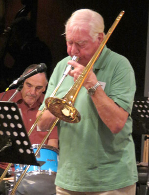 Jazz veteran Jack Morris playing his beloved trombone, with popular jazz drummer Allan Smith behind him.