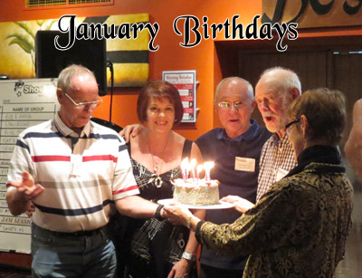 January birthday photo, with (from L): Ken Forbes, Judee Horin, Sylvester Kroyherr, Frank Cox (dec.) and cake mistress Janet Arndt.
