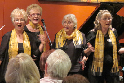 Guest a capella vocal group Shirazz performs at least annually. From L: Lorraine Bulwyn (baritone), Christine Howe (bass), long-term member Sheila Whitson (tenor), Judy Judge (Lead).