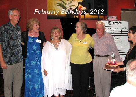 February birthday celebrants (from L): Dave Richard, Pamela Rowe, Rachel Camerino, Berri Biss, and unknown guest, with cake manager Janet Arndt.
