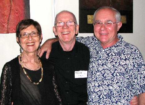 In happy mood are veteran club members, vocalist and band-leader Janet Arndt, veteran pianist/vocalist John Hoare, guitarist/vocalist Sylvester Kroyherr.