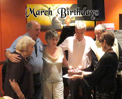 March birthdays, from L: Sheila Whitson, Barrie Boyes, Audrey Morris, Paul Phillips, John Bowen and cake wrangler Janet Arndt.