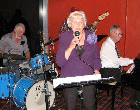 In full vocal flow is long-time member Sheila Whitson, backed by drummer Alan Richards and pianist Neville Turner.