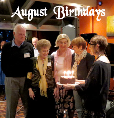 August birthdays, from L: Kim Harris, Rachel Sandey, Francesca Henderson and Anne Hayres, under the tender care of master cake illuminator Janet Arndt.