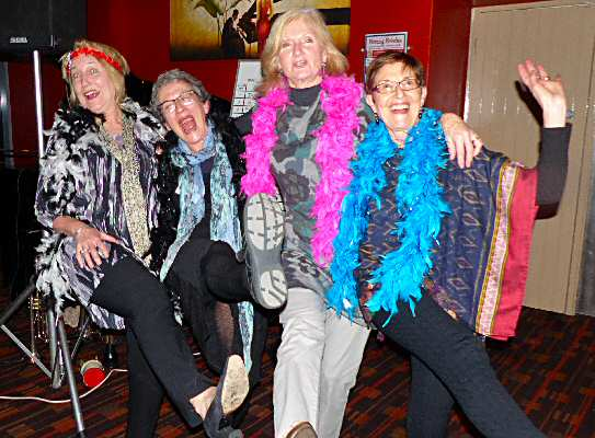 Charleston gals kicking up their heels; from L: Annie Smith, Marion Lustig, Faye Milligan and Janet Arndt.