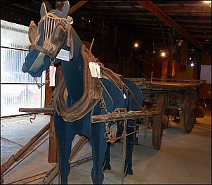 fake horse and tray cart vfrom local farm ,in Coolamon museum, 14/7/16